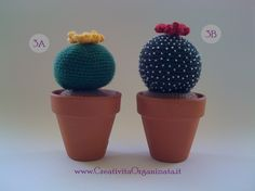 usare dava 4 – 4 e mezzo e le ho lavorate (come si fa Crochet Cactus, Crochet Flowers, Knit Crochet, Cactus Painting, T Shirt Yarn, Cacti And Succulents, Flora, Stitch, Knitting