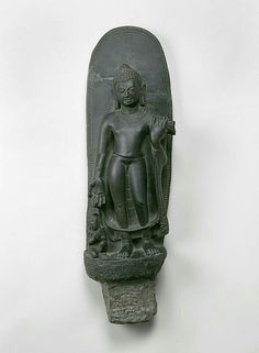 Standing Buddha with devotee Place of Origin: India, Sultanganj, Bihar state Date: Materials: Stone Style or Ware: Pala Dimensions: H. 24 in x W. 61 cm x W. Buddha India, Asian Sculptures, Standing Buddha, Indian Temple, Buddhist Art, Central Asia, Incredible India, Indian Art, Tibet