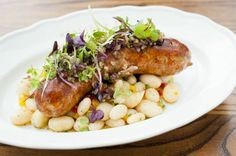 Montreal Sausage with Salad and White Beans