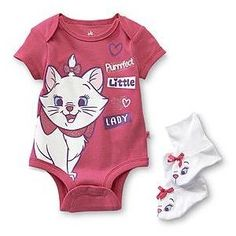 Disney Baby Aristocats Infant Girl's Bodysuit Booties Marie