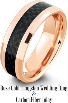 Mens rose gold tungsten wedding ring with a black woven carbon fiber inlay. I love this mens wedding ring! It is so unique