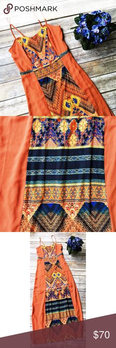 Gianni Bini Incredible Orange Tribal Print Maxi  ★ Excellent condition. ★ This awesome tribal print orange maxi dress from Gianni Bini is an absolute must have! Perfect for summer and fall.  ★ Polyester. ★ NO TRADES!  ★ NO MODELING!  ★ YES REASONABLE OFFERS! ✅ ★ Measurements available by request and as soon as possible!  Gianni Bini Dresses Maxi