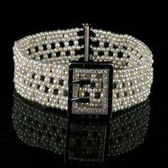 Art Deco Cartier diamond & pearl bracelet.  Original Art Deco bracelet made by Cartier in the 1920's.