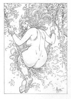 Planche originale de bande dessinée, galerie Napoléon  : Divers - Dessin original au crayon de Mohamed AOUAMRI Femme sur balançoire -