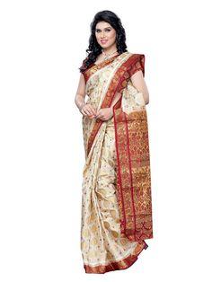 Mimosa Women Silk Kanjivaram Saree (65-Hlfwhitemarun _Multi-Coloured _Free Size)  #Silk Saree #Pure Silk #Saree