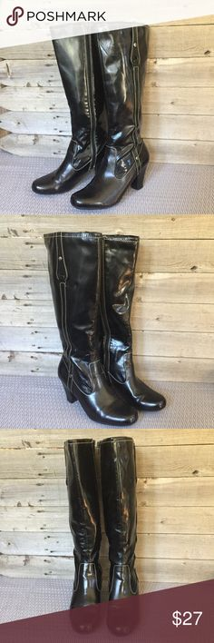 Naturalizer Jaylyn Black Knee-high Boots, 9 These pre-owned Naturalizer Jaclyn boots are in great condition. All man made materials. Some wear on back of heel as shown. Bundle and save! Reasonable offers welcome. Naturalizer Shoes Heeled Boots