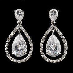 Beautiful Antique Silver CZ Drop Earrings - Affordable Elegance Bridal -