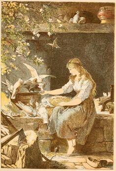 Cinderella -- Aschenputtel -- Paul Menerheim -- Fairytale Illustration.  From the Grimms' version of the story.