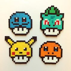 Pokemon Mario mushrooms perler beads by the_perlair Perler Bead Designs, Perler Bead Templates, Hama Beads Design, Hama Beads Patterns, Beading Patterns, Pyssla Pokemon, Hama Beads Pokemon, Diy Perler Beads, Pixel Art