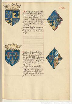 Coat of arms of Louis of Valois the Dauphin and of Margaret of Burgundy. Upper. Receuil de la généalogie de la noble maison de Luxembourg.