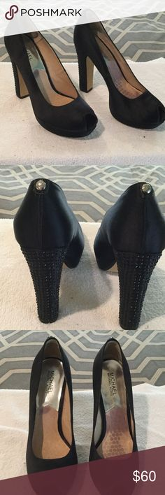 """Crystal heeled peep toe pumps Black Satin Michael Kors peep toe crystal heeled pumps with 5"""" heels. Gorgeous and super sexy. Leather inside. Not a mark or scratch. MICHAEL Michael Kors Shoes Heels"""