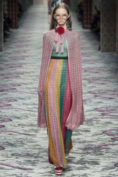 This looks like crochet but I am 99.9% sure it's knit. Sigh. Gucci S16 RTW