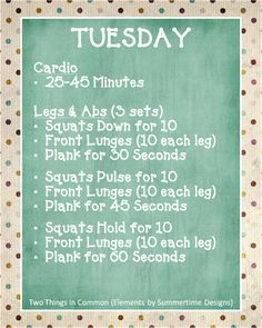 a workout for each day of the week--so plain and simple-love!