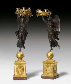 """c1810 PAIR OF IMPORTANT CANDELABRAS """"AUX VICTOIRES"""", Empire, in the style of P.P. THOMIRE (Pierre Philippe Thomire, 1751 Paris 1843), Paris ca. 1810. Gilt and burnished bronze and """"Griotte Rouge"""" marble. Gilt mounts and applications. Some losses. H 116 cm and 113 cm. Tv Furniture, Modern Furniture, Furniture Design, French Empire, Empire Style, Art Decor, Home Decor, Decoration, Antique Items"""