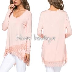 Long sleeve tops Long sleeve baby pink tops with lace detail at hem. Please do not purchase this listing. Comment with size and I will create a new listing for you. Small (2/4) Medium (6/8) Large (10/12). Price is firm unless bundled. Tops
