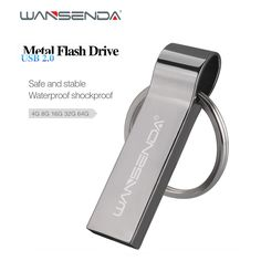 2Pcs/1Lot Wansenda Metal Steel Usb Flash Drive 4GB 8GB 16GB 32GB portable Pen Drive high quality pendrives with Key Chain