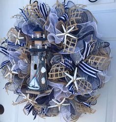 Items similar to Made to Order Nautical Wreath, Beach Wreath, Lighthouse Wreath, Lakehouse wreath by A Noble Touch on Etsy Coastal Wreath, Seashell Wreath, Nautical Wreath, Seashell Crafts, Nautical Theme, Burlap Crafts, Wreath Crafts, Diy Wreath, Wreath Ideas