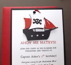 Pirate Ship Birthday Invitation, Pirate Invitation by daffodilsndaisys on Etsy https://www.etsy.com/listing/205919191/pirate-ship-birthday-invitation-pirate
