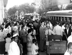 1959 - Para ir à cidade do Rio de Janeiro o embarque ocorriam próximo à esquina da avenida Ipiranga com a avenida São João pela Viação Cometa.