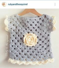 months soft grey top with cream rose and scallop edging. I love these colours ? months soft grey top with cream rose and scallop edging. I love these colours ? Poncho Au Crochet, Beau Crochet, Pull Crochet, Crochet Baby Sweaters, Baby Girl Crochet, Crochet Baby Clothes, Crochet Jacket, Crochet Granny, Crochet For Kids