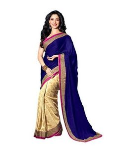 Blue Georgette Embroidered Designer Saree With Blouse
