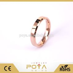 POYA Jewelry Engravable 4MM Beveled Edges Rose Gold Women's Tunsten Carbide Wedding Bnd Ring