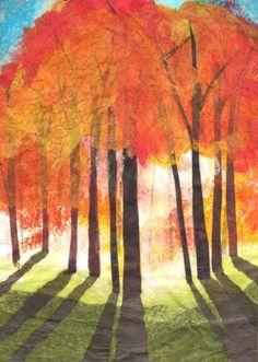 Sunrise - Colored pencil, oil pastel, tissue on foil - Elizabeth Weiss: