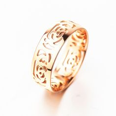 G41 로즈 골드 채워진 오버레이 보석 파티 bague 중공 반지 웨딩 약혼 반지 액세서리