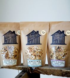 Handmade Granola Trio by House Granola on Scoutmob Shoppe Popcorn Packaging, Cereal Packaging, Tea Packaging, Brand Packaging, Chip Packaging, Granola, Muesli, Food Branding, Food Packaging Design