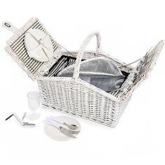 Picknickkorb für 4 Personen inkl Kühltasche weiß ca L:45 x B:30 x H:40 cm