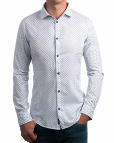 Camisas Armani Topitos - Blanco & Azul