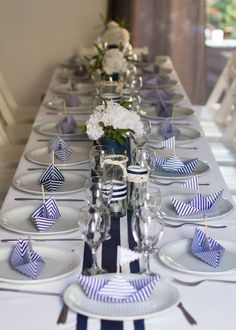 Pretty nautical theme tablescape.