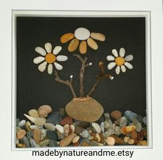 Beach stone flowers, stone art, pebble flowers art, rocks flowers art