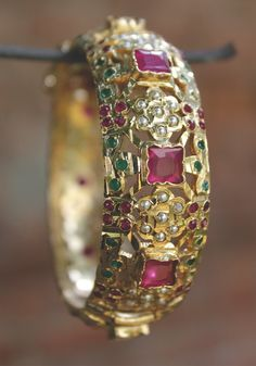 Zeba Gold Plated Multicoloured Pakistani Jadau Bangle in 2019 Hand Jewelry, Sea Glass Jewelry, Gold Bangles Design, Jewelry Design, Solid Gold Bangle, Silver Bracelets, Bangle Bracelets, Silver Earrings, Expensive Jewelry