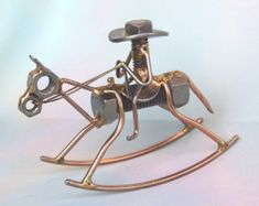 Welded NUT and BOLT COWBOY Mule Rider Statue by EnjoyingAntiques