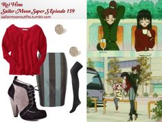 Mars - Requested by: jaknel Forever 21 floral rhinestone earrings in Gold/Clear Forever 21 ribbed knit tights in Charcoal Old Navy mixed-gauge dolman-sleeve sweater in Saucy Red BCBGeneration Secret B Black Cove booties Kelly Ewing stripe pencil skirt Casual Cosplay, Cosplay Outfits, Anime Outfits, Cute Outfits, Sailor Moon Outfit, Sailor Moon Cosplay, Sailor Moon Manga, Sailor Saturn, Sailor Mars