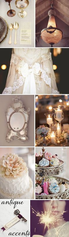 antique wedding details {Photos: Place Setting: Coco + Kelley, Lighting: Brandon Kidd via Style Me Pretty, Dress: Keen Finds, Mirror: House of Glass, Candles: Jessica Claire via Elizabeth Anne Designs, Cake: Elizabeth Anne Designs, Cupcakes: Wedding Magazine UK,  Key: Wedding Ideas, Sparkler: I Like Nice Things}