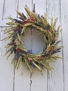 Lavender Oats & Wheat Dried Flower Wreath by BellaPoppyFlowerArt on Etsy
