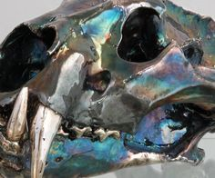 Tiger Skull - Silver and iridescent oxidation