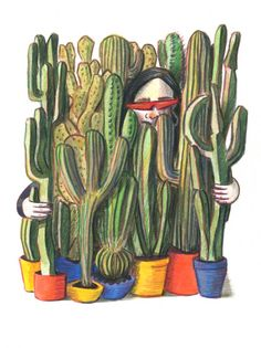Watercolour and pencil illustration by Carolina Cancanilla Cactus Illustration, Pencil Illustration, White Pen, Cactus Plants, Watercolour, Painting, Art, Pen And Wash, Craft Art