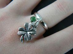 lucky 4 leaf clover shell ring 4 leaf clover  by gildedingypsy, $10.00