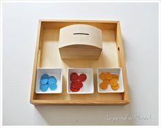 activité Montessori, motricité fine, tri couleur, DIY (12/18 mois)