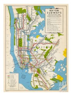 1949, New York Subway Map Giclee Print. Save up to 40% for a limited time at Art.com.