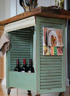 Very cute DIY Kitchen Island made from recycled shutters!