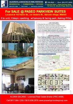 Paseo Parkview Condo For Sale. A twin-tower residential condominium at the heart of Makati's business district. Makati City, Condos For Sale, Condominium, Tower, Real Estate, Rook, Computer Case, Real Estates, Building