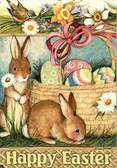 Easter Basket and Bunnies Illustration Easter Garden, Easter Art, Easter Crafts, Easter Eggs, Vintage Cards, Vintage Postcards, Fete Pascal, Ostern Wallpaper, Decoupage