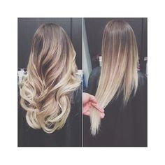 Brown to Blonde Ombre Long Straight Hair found on Polyvore | My Style