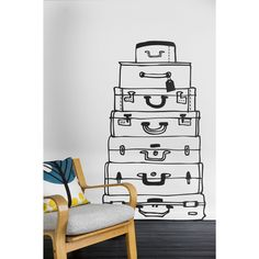 ferm living suitcases wall sticker black decals stickers and decor