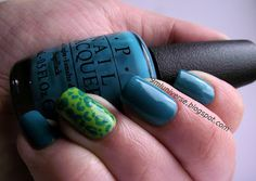 O.P.I Fly with a leopard print over Sally Hansen Hard as Nails #620 Limestone