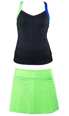Check out what #lorisgolfshoppe has for your days on and off the golf course! JoFit Ladies & Plus Size Tennis Outfits (Tank & Skort) - Melon Ball (Black & Grass)